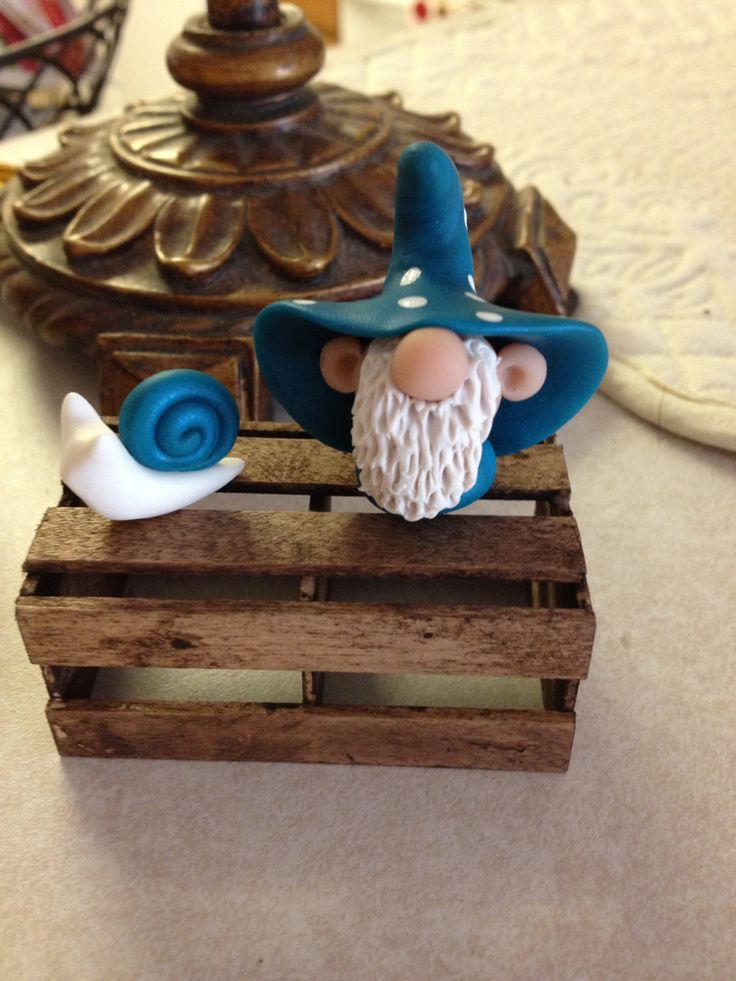 Pickle Hollow Gnome and his Snail polymer clay by Whimsybydesign1, $10.00