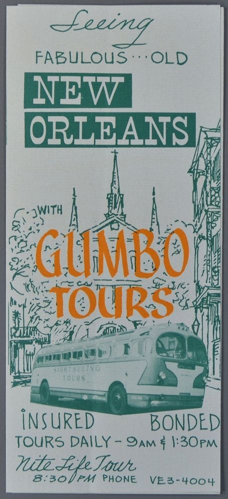 c1950 NEW ORLEANS LOUISIANA Gumbo Bus Tours Brochure