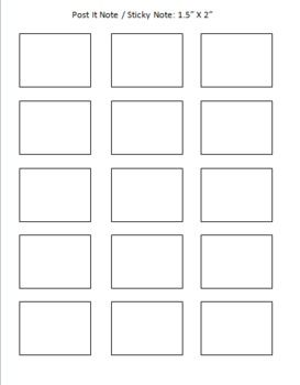 post it note sticky note printing template freebie classroom