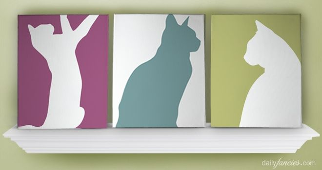 Silhouettes (of anything!) + paint + cheap canvas = easy art