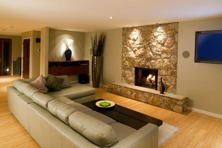 basement interior design - Basement wall colors, Stone fireplace mantel and Basement ...