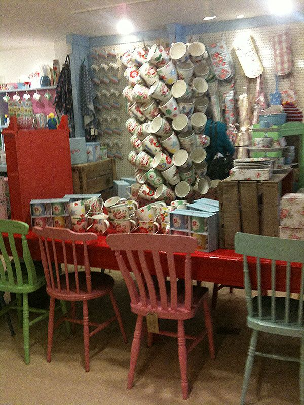 Cath Kidston's shop again - I'm thinking this is where Kirstie Alsopp got her painted chairs idea for the vintage home show since this is her cousin's shop... or maybe Kirstie gave her the idea? lol