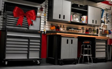 Gift for guys? A girl can appreciate an organized and stocked garage too! Only thing missing is a car jack....