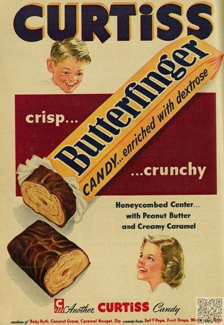 17. #Butterfingers - 38 Charming Vintage #Candy Ads That'll Make You Smile ... → Food #Charming