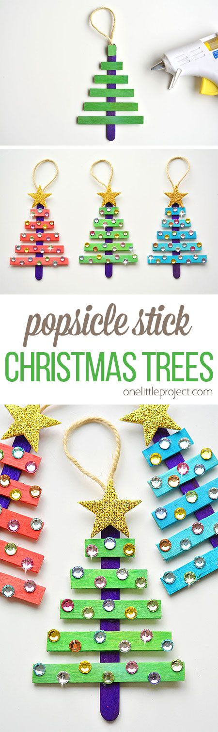 These popsicle stick Christmas trees are SO EASY to make and they're so beautiful! The kids loved decorating them! Such an awesome dollar store Christmas craft idea!!                                                                                                                                                                                 More