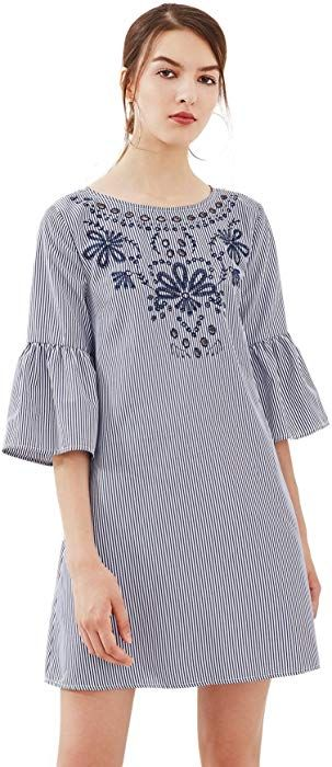 463e48c4f14e Floerns Women's Bell Sleeve Embroidered Tunic Dress Navy Stripe XS at Amazon  Women's Clothing store: