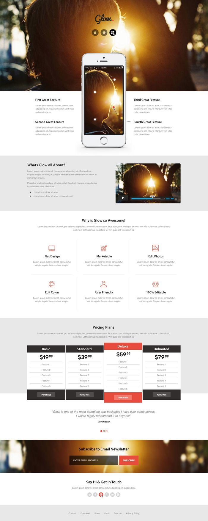 Free Download: Glow PSD Theme