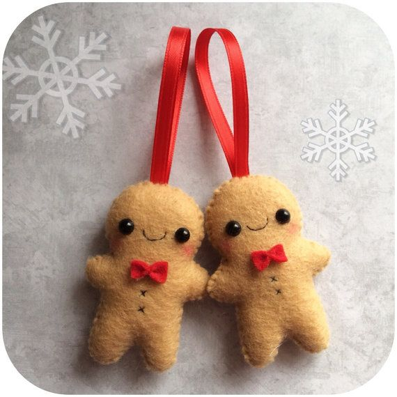 Set of 2 Small Gingerbread Man Felt Christmas by pinkTopic
