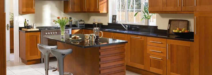 Image result for kitchen colour black worktop wooden cupboards