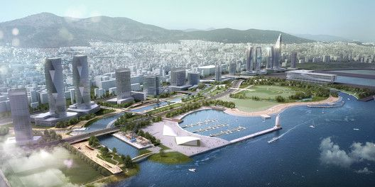 SYNWHA Consortium Wins Competition to Design Waterfront Park for Busan North Port,Bird's Eye View. Image Courtesy of SYNWHA Consulting