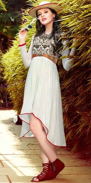Superb White Georgette Kurti.