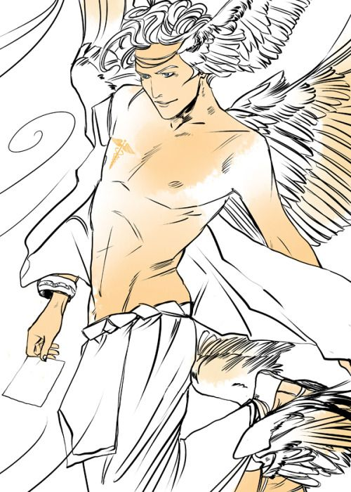 HERMES! God of Commerce and Master of Thieves! Hermes is the Messenger of the Gods. {Cassandra Jean artwork- check it out!}