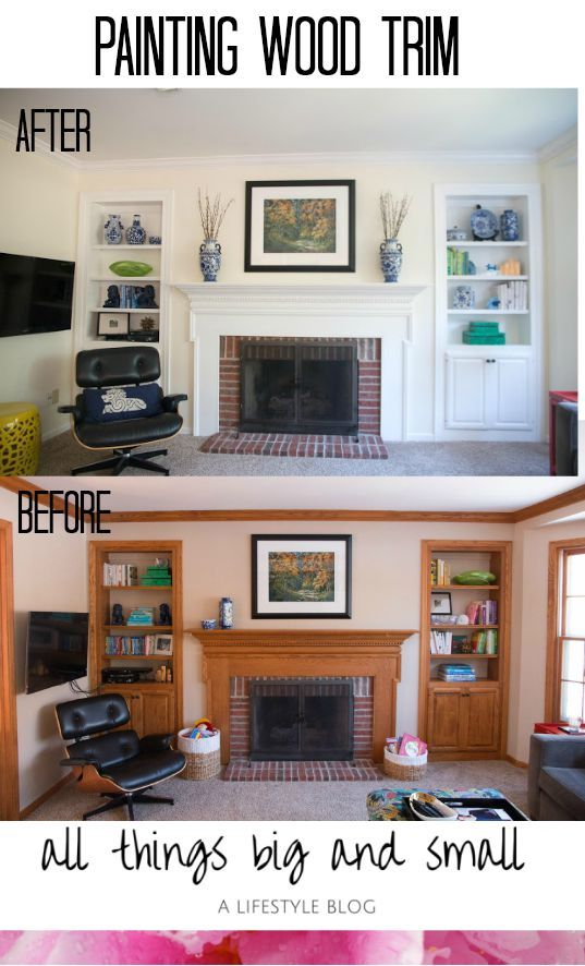 Before-and-After painting wood trim made such a difference in a previously dark and dated room. Read to see what colors we used, and how to paint wood trim to update 1980s trim.