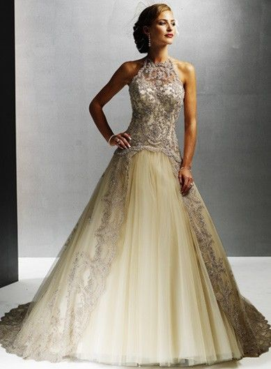 Illusion High Collar A-line Corset Lace Tulle Wedding Dress #elegant_wedding_dress #sleeveless_wedding_dress #gorgeous_wedding_dress