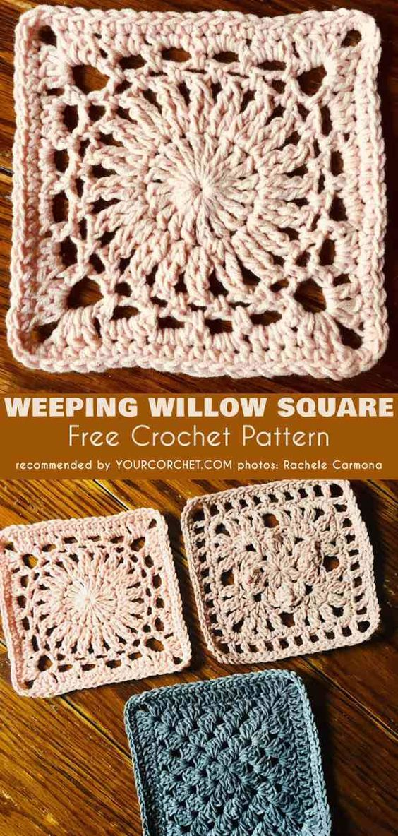 Weeping Willow Square Free Crochet Pattern Pinterest Weeping