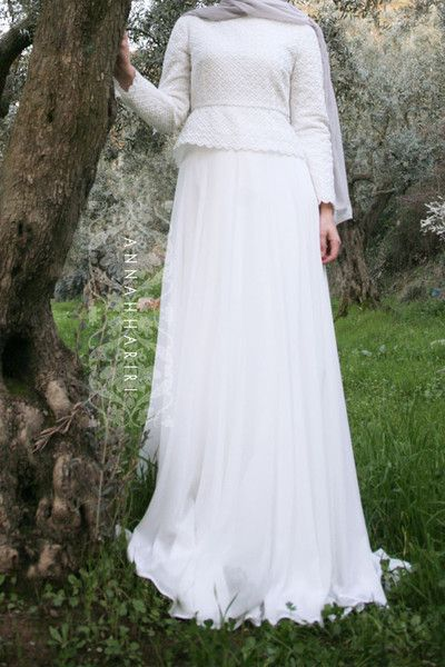 Chiffon maxi dress, peplum top, light hijab; suitable for muslim wedding.