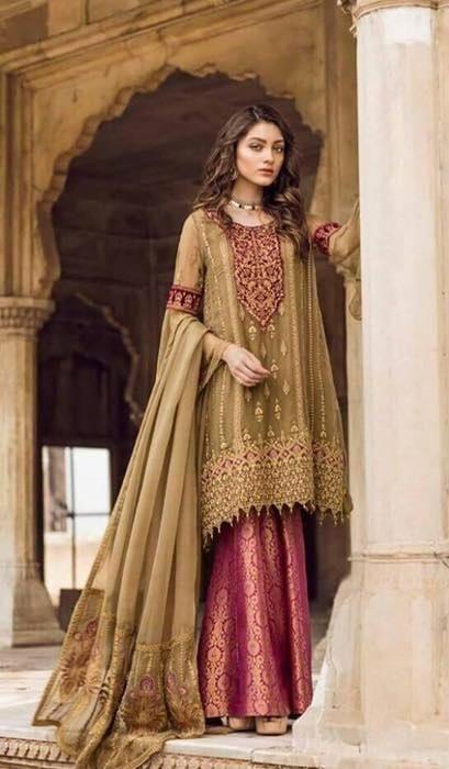 17b62a4be7 Iznik Chiffon Suit   Bridal Collection 2019 in 2019   Dresses, Pakistani  suits, Pakistani dresses