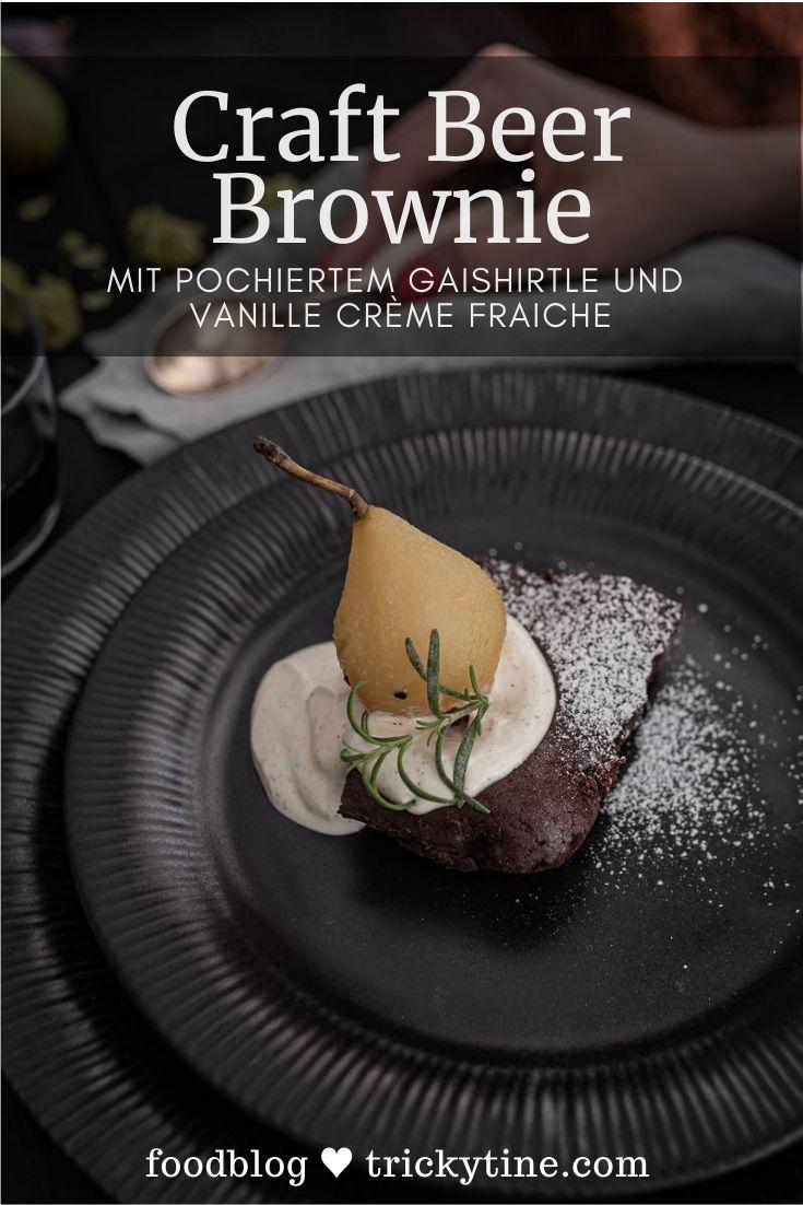 Rezept für Craft Beer Brownie mit Birne Helene