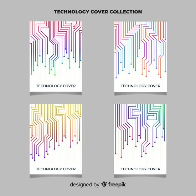 Technology style brochure set Free Vector