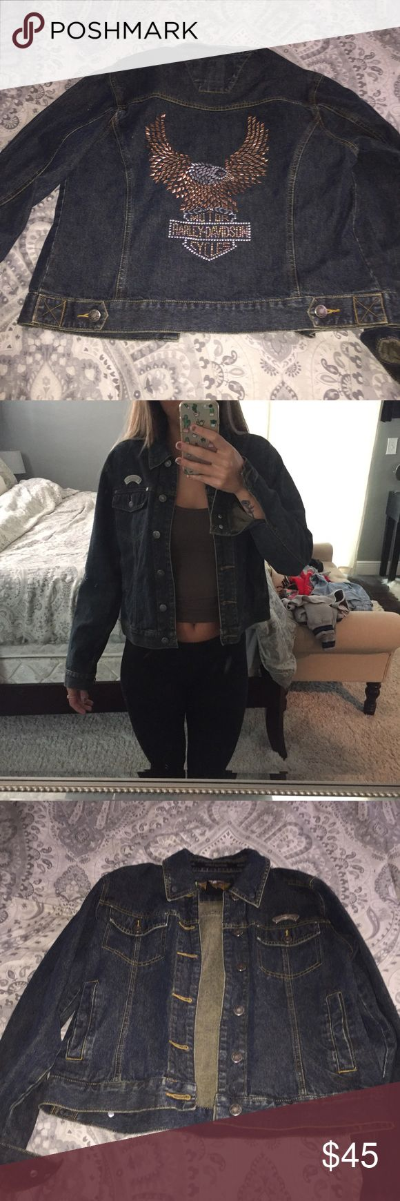 Harley Davidson jean jacket Harley Davidson jean jacket in perfect condition!! So cute and goes with anything! Harley-Davidson Jackets & Coats Jean Jackets