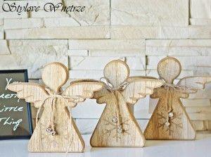 Świąteczna Figurka Anioł z drewna