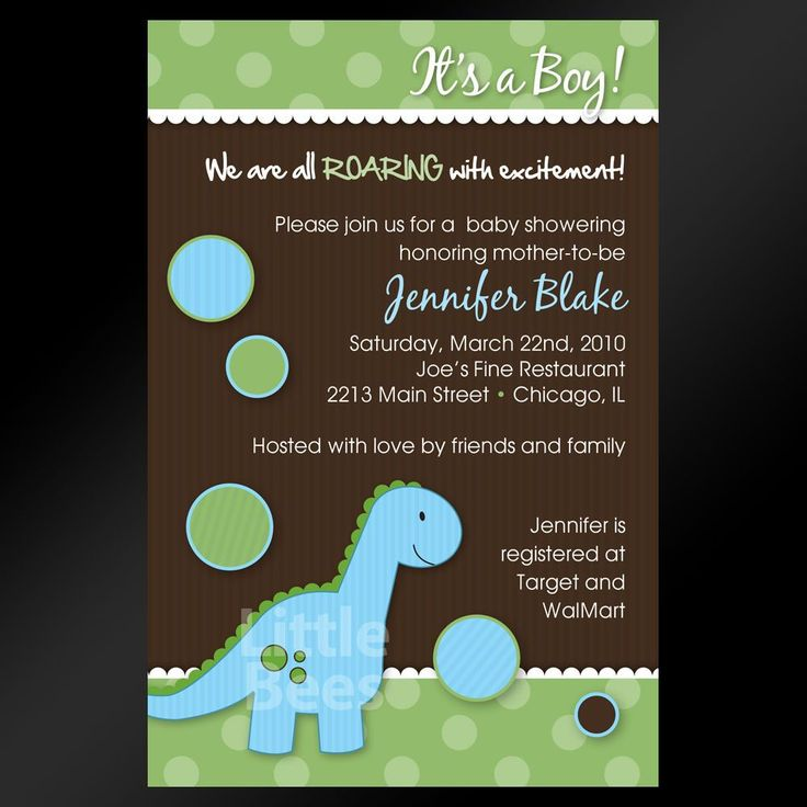 Adorable Blue Dinosaur -- Printable Baby Shower Or Birthday Invitations