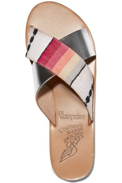 Ancient Greek Sandals - Lemlem Thais Metallic Leather And Jacquard Slides - Silver - IT41