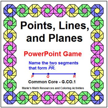 This is a powerpoint game on Points, Lines, and Planes. THIS IS FREE IN THE POINTS, LINES, AND PLANES BUNDLE. Use as a game (22 problems) where students will lose points 2 times or use as a review (24 problems). The thumbnails show some of the problems.