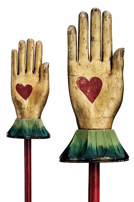 Folk art sculpture, Heart in Hands, early 20th century