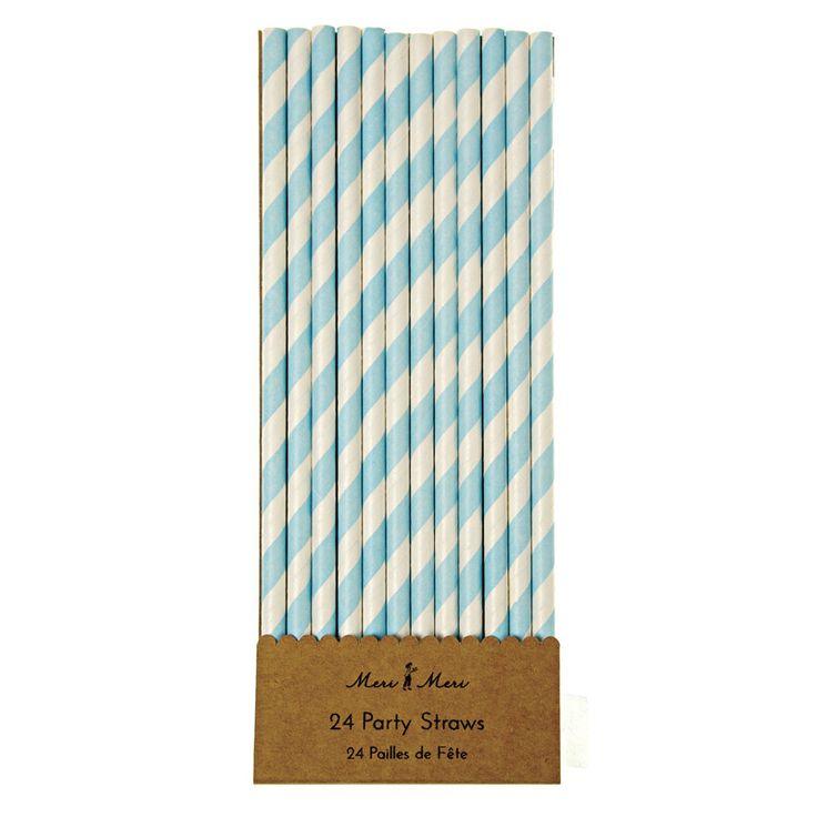 Meri Meri Strohhalm blau weiß aus Papier - Bonuspunkte sammeln, Kauf auf Rechnung, DHL Blitzlieferung!