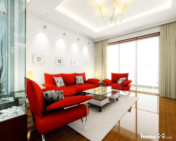 cortina longa para sala com sofá vermelho