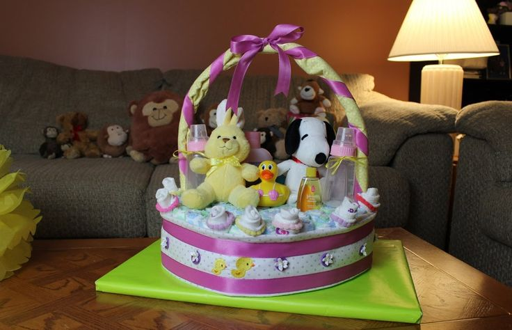 Baby Gift Basket Diapers : Best ideas about diaper cake basket on