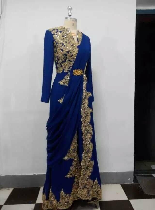 Royal Blue Dubai Arabic Evening Dresses A Line Long Sleeve Gold Appliques Muslim Evening Gowns Split Prom Party Dress Real Picture Evening Maxi Dresses Uk Evening Wear Dresses From Angelia0223, $228.9| Dhgate.Com