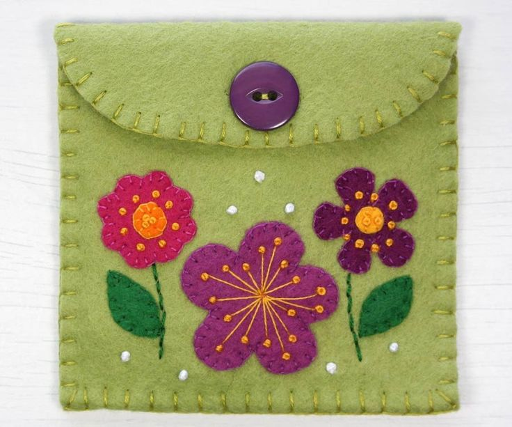 Felt coin purse, floral felt wallet, flower purse, Handmade in Ireland