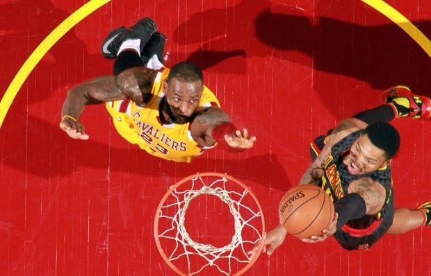 King LeBron James doing his Blocking Thing.