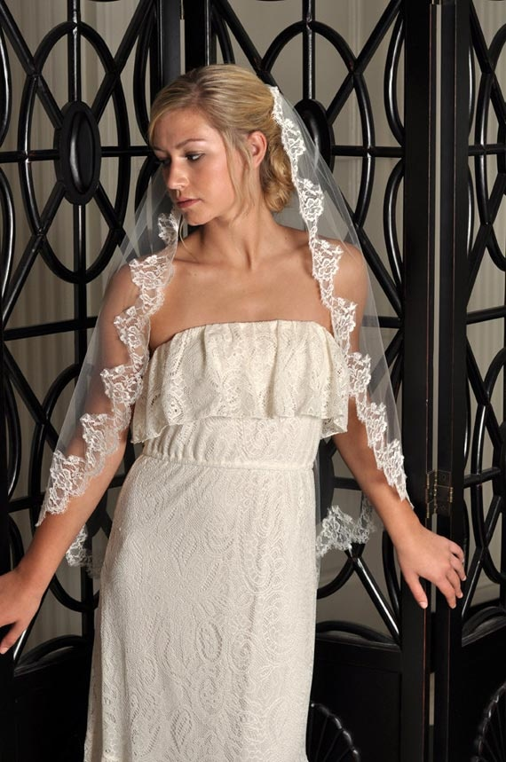Classy Chic Wedding Veil Hairstyle with Mantilla Lace by Simply Blue