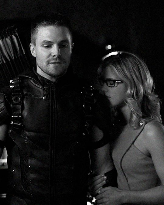 Took me a while to find a picture without spoilers. Oliver and Felicity on the Arrow.
