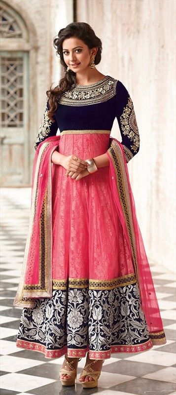 411257: BUSY EMBROIDERY - at anarkali's border, for making statement everywhere you go wearing it. Navy blue and pink designer anarkali dress suit with white embroidery. #blueanarkali #pinkanarkali #anarkali