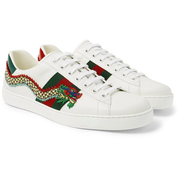 Gucci Ace Appliquéd Watersnake and Leather Sneakers ($790) ❤ liked on Polyvore featuring men's fashion, men's shoes, men's sneakers, mens green leather dress shoes, mens leather sneakers, gucci mens sneakers, mens green shoes and gucci mens shoes