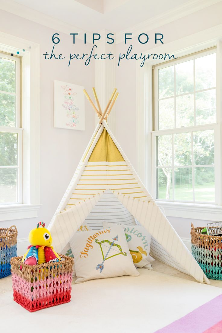 Create a space that your kids love to laugh, imagine, and play in with these 6 tips for creating the perfect playroom! These simple tips for how to cater to all ages includes fun ideas like an arts and craft table and reading nook teepee!
