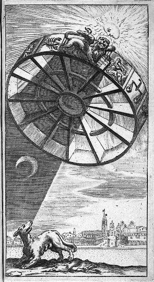 Boethius' Rota Fortuna or wheel of fortune casting a shadow over a dog; engraving emblematic of the black plague, ca. 1650. Sacred Geometry <3