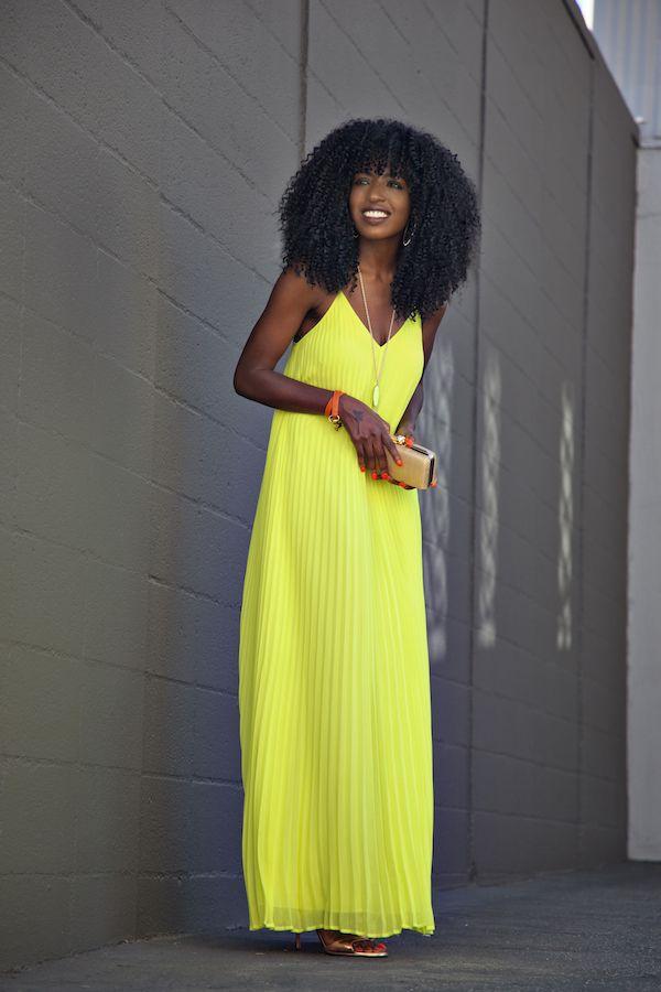 Neon Pleated Maxi Dress