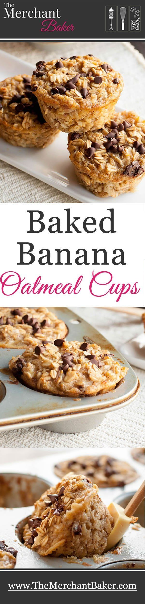 Baked Banana Oatmeal Cups. A hearty and healthy oatmeal that you can make ahead. Baked in individual cups so they're an easy grab and go breakfast! by julia