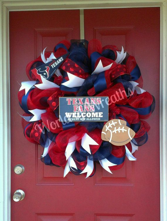 Houston Texans Deco Mesh Wreath by WorldofWreaths on Etsy