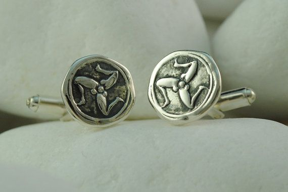Ancient Greek Drachma Triskelion Coin Cufflinks