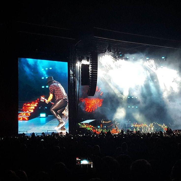 "Slash and his typical ""guitar dance"" at the Guns N'Roses concert in Letnany Airport Prague  #prague #live @gunsnroses #GunsNRoses #concert #show #notinthislifetime #tour #slash #guitar #dance #hardrock #stage #letnany #airport #letnanyairport #night #NightInTheCity #city #galaxys6"