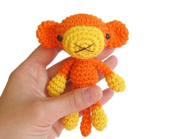Small monkey PATTERN - Crochet TUTORIAL - Amigurumi miniature - Small soft toy pattern -Tutorial with photos - PM-12-008 via Etsy