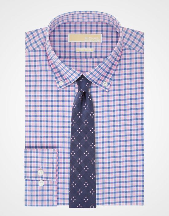 MICHAEL Michael Kors, Non-Iron Pink and Blue Check Dress Shirt http://www.menshealth.com/style/best-dress-shirts/slide/8