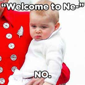 The Cambridges touched down in New Zealand today, via Sydney, and Prince George was not OK with it. | 25 Pictures That Prove Grumpy Prince George Is The New Grumpy Cat