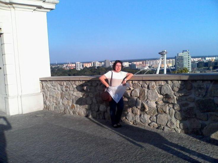 LACOTEC en Bratislava (Eslovaquia): Al fondo el Puente de la Sublevación Nacional Eslovaca, conocido comúnmente como Most SNP o Novy Most (Puente Nuevo). Es un puente de carretera sobre el río Danubio, que fue terminado en 1972. Es evidente, en la estructura, su forma de platillo volador en la parte superior del puente de un sólo pilón. La estructura OVNI en realidad alberga un restaurante, alcanzado mediante un ascensor, que ofrece una hermosa vista panorámica de Bratislava.